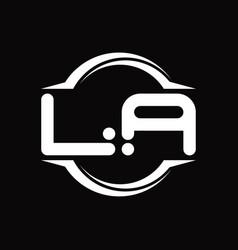 La logo monogram with circle rounded slice shape vector