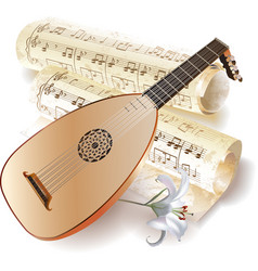 Late Baroque era lute with notes in retro style vector image