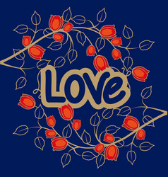 Love with flowers background vector