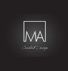 Ma square frame letter logo design with black and vector