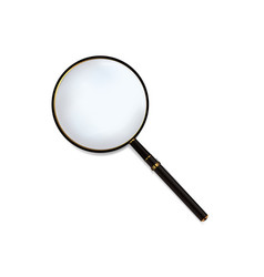 Magnifying glass with black wood handle vector