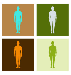 male human body silhouette with shadow vector image