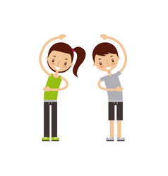 Man and woman exercising happy fitness people vector