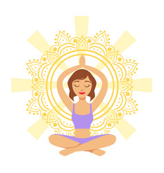 Meditating yogi girl in yoga lotus pose colorful vector