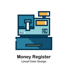 money register lineal color icon vector image