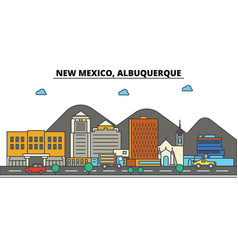New mexico albuquerquecity skyline architecture vector