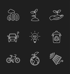 Nine flat eco icons vector