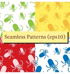 Octopus patterns set in different colors vector image