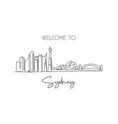 one continuous line drawing sydney city vector image