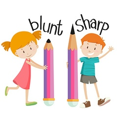 Opposite adjectives with blunt and sharp vector