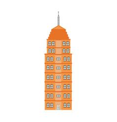 Orange building tower urban architecture vector