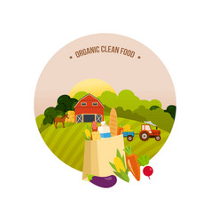 Organic clean food farm and farmland village vector