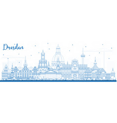 Outline dresden germany city skyline with blue vector