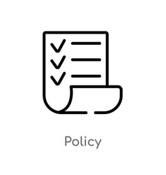 Outline policy icon isolated black simple line vector
