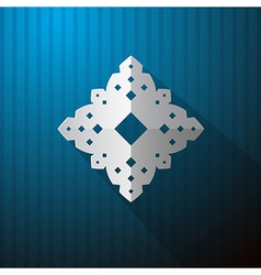 Paper Cut Snowflake on Blue Background vector image