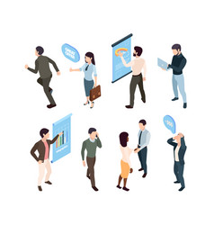 people isometric manager analytic girl pleased vector image