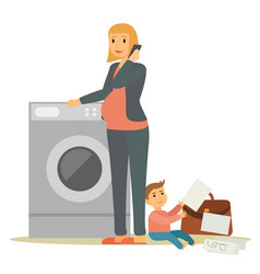 Pregnant lady stand near washing machine with kid vector