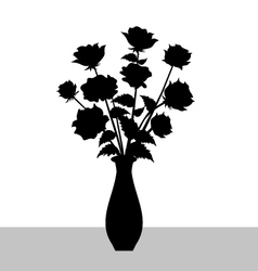 Rose Flower Vase Silhouette vector