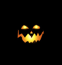scary and evil pumpkin jack o lantern glowing face vector image