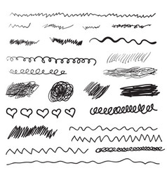 scribble brush strokes set logo design element vector image