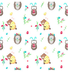 seamless pattern with cute easter animals vector image