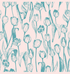 seamless pattern with spring tulips are in vector image