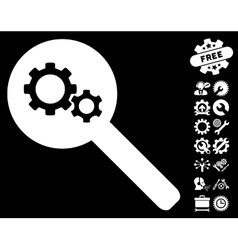 Search Gears Tool Icon with Tools Bonus vector image