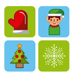 set icons merry christmas decoration celebration vector image