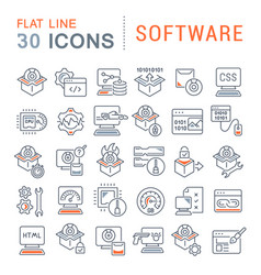 set line icons software vector image