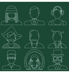 Set of flat style male characters vector image