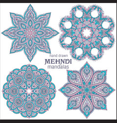 Set of four abstract round lace design vector