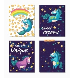 Set of Unicorn cards Childish background with vector