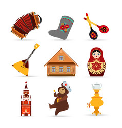 set russia travel colorful isolated flat icons vector image