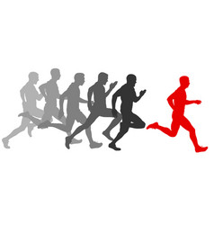 Set silhouettes runners sprint men on a white vector