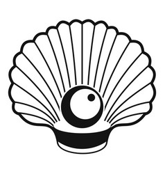 Shell with pearl icon simple style vector