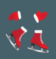 skates and gloves footwear for winter sports vector image