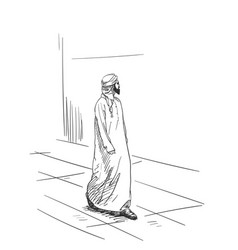 sketch of muslim arabic man in traditional vector image