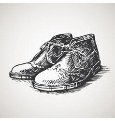 Sketched vintage desert boots vector image