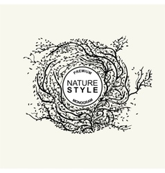 Stylish nature monochrome template labels vector image