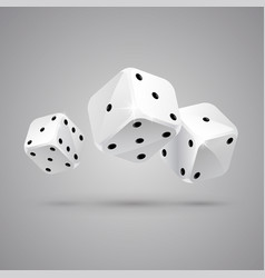 Three falling white game dices casino gambling vector