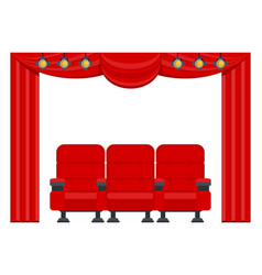 Three red comfortable armchairs in cinema vector