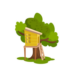 Tree house wooden hut on tree for kids outdoor vector