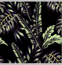 Tropical plants trendy seamless background vector