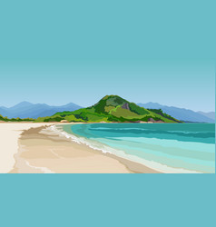 Turquoise sea with a sandy beach surrounded by vector