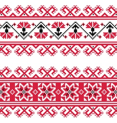 Ukrainian Slavic red and grey traditional pattern vector