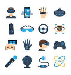 virtual reality icon set in flat style vector image