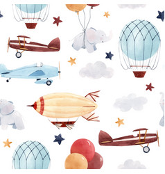Watercolor aircraft baby pattern vector