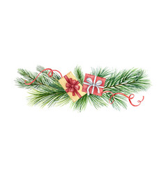 Watercolor christmas wreath with green fir vector