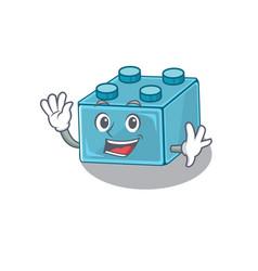 Waving friendly lego brick toys mascot design vector
