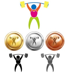 Weightlifting icon and sport medals vector image